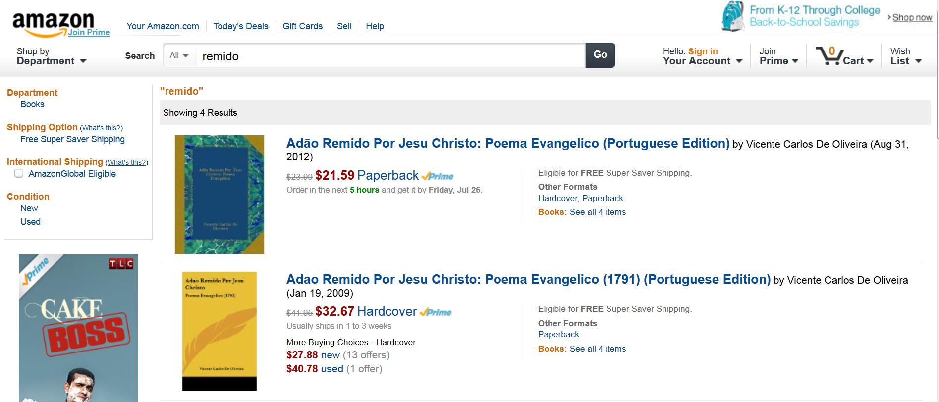 """Auf Amazon werden mir für """"Remido"""" religiöse Publikationen vorgeschlagen."""