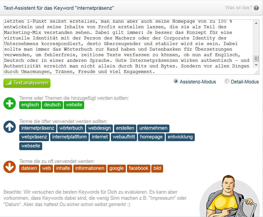 Die Textanalyse von Onpage.org zeigt mir die Schwachstellen in meinem Beitrag.