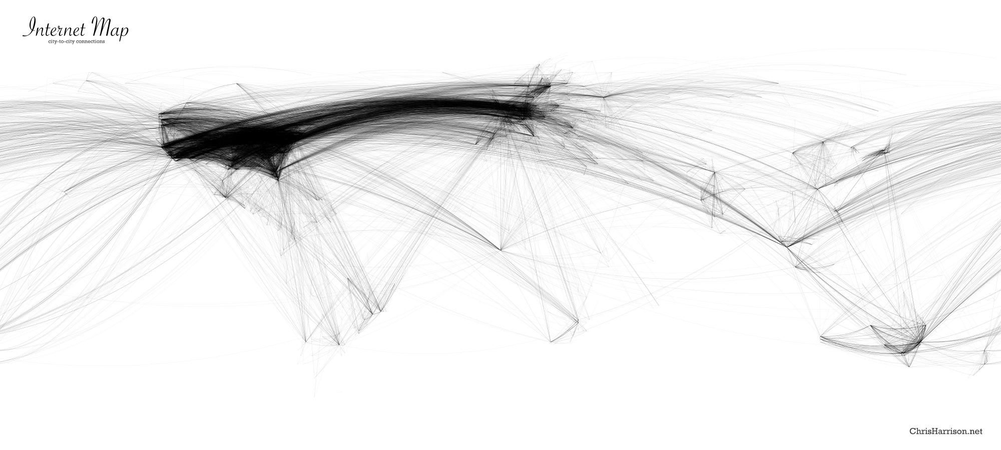 Eine virtuelle Zeichnung von Chris Harrison, auf der man die Datenströme zwischen den Kontinenten gut erkennen kann.