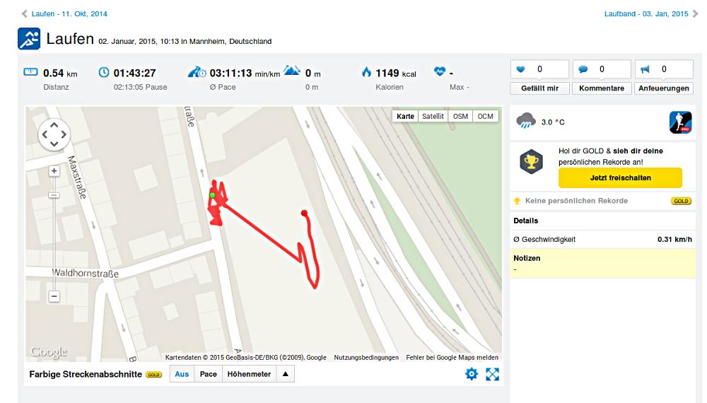 Ein Facebook-Freund aus Mannheim geht jetzt öfters zum Sport. Ich sehe online, ob er fleißig trainiert.
