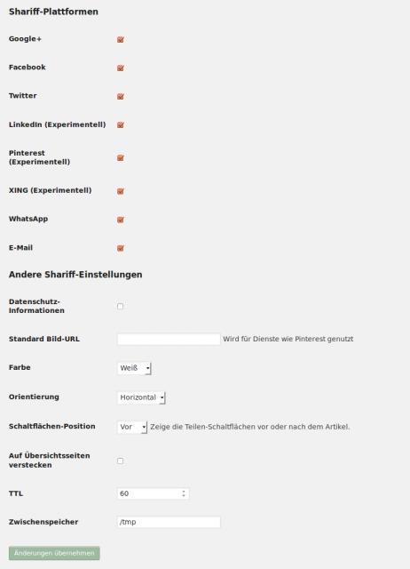 Shariff for WordPress - Einstellungen