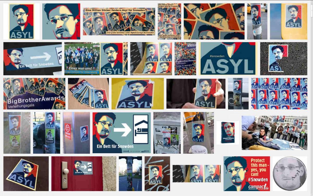 Aufkleber: Asyl für Edward Snowden Quelle: Google
