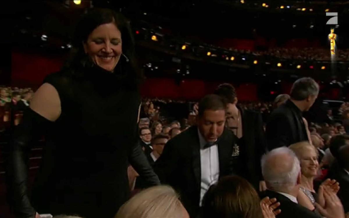 Laura Poitras und Glenn Greenwald bei der Verkündigung ihres Oscars