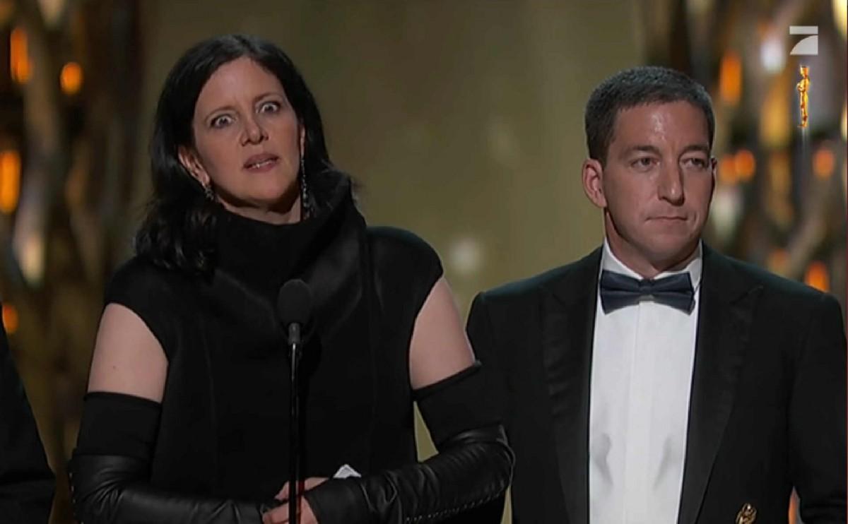 Laura Poitras und Glenn Greenwald bei der Oscar-Verleihung